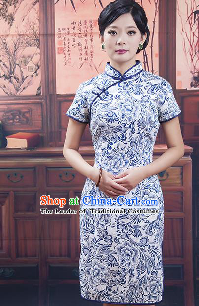 Traditional Chinese National Costume Blue and White Porcelain Qipao Cheongsam Dress for Women