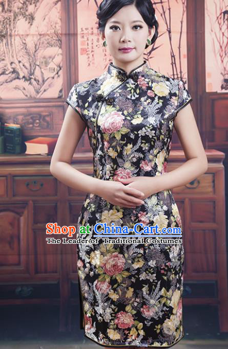 Traditional Chinese National Costume Blue and White Porcelain Qipao Printing Black Cheongsam Dress for Women