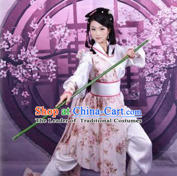 Asian China Ancient Song Dynasty Young Lady Costume, Traditional Chinese Hanfu Swordswoman Embroidered Dress Clothing for Women