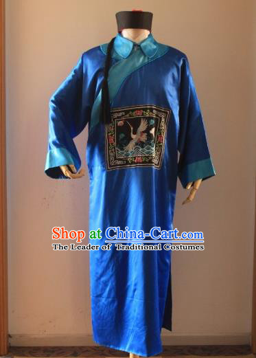 Asian China Ancient Qing Dynasty Royal Highness Costume, Traditional Chinese Manchu Minister Embroidered Blue Robe Clothing for Men