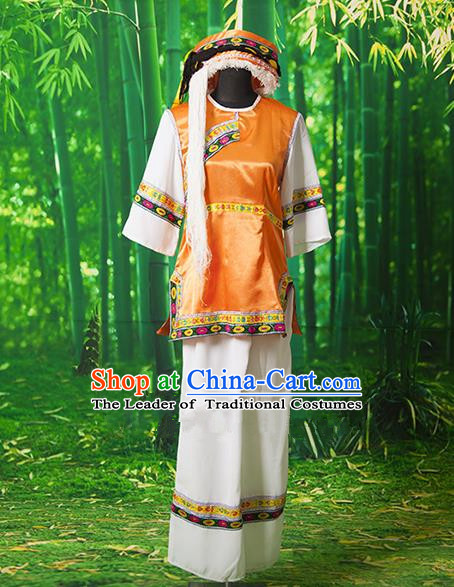 Traditional Chinese Bai Nationality Dancing Costume, Chinese Minority Nationality Embroidery Costume for Women