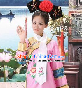 Traditional Ancient Chinese Manchu Palace Lady Costume, Asian Chinese Qing Dynasty Imperial Consort Embroidered Pink Dress Clothing for Women