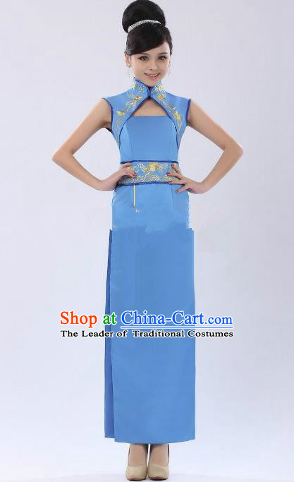 Traditional Ancient Chinese Republic of China Cheongsam Costume, Asian Chinese Embroidered Blue Chirpaur Clothing for Women