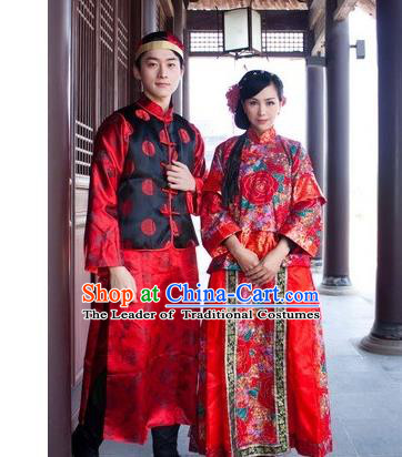 Asian China Ancient Wedding Bride and Bridegroom Costume, Traditional Chinese Hanfu Embroidered Dress Clothing for Women for Men