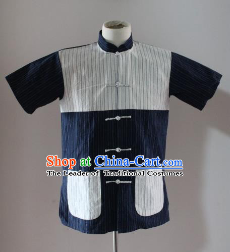 Traditional Ancient Chinese National Costume, Asian Chinese Republic of China Plated Buttons Shirt for Men