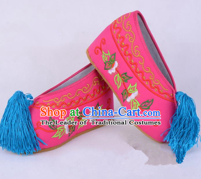 Traditional Beijing Opera Diva Rosy Satin Embroidered Shoes Cloth Shoes, Ancient Chinese Peking Opera Hua Tan Princess Blood Stained Shoes