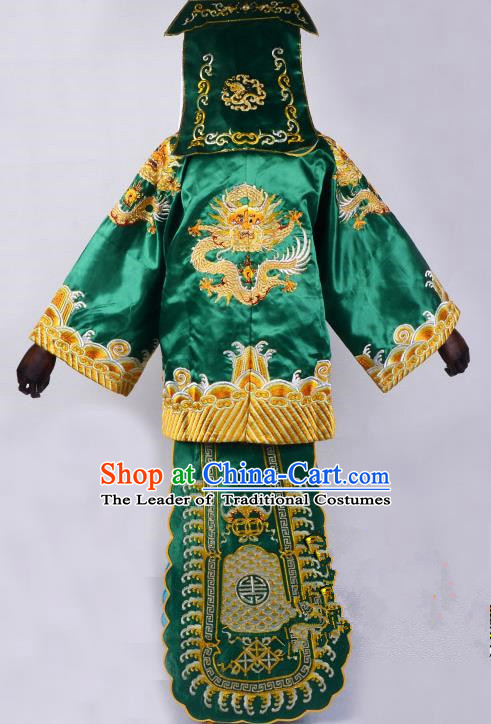 Traditional China Beijing Opera Takefu Imperial Bodyguard Green Costume, Ancient Chinese Peking Opera Wu-Sheng Warrior Embroidery Clothing