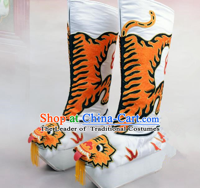 Traditional Beijing Opera Emperor Embroidered White Boots Tiger-head Shoes, Ancient Chinese Peking Opera Takefu Satin Embroidery High Leg Boots