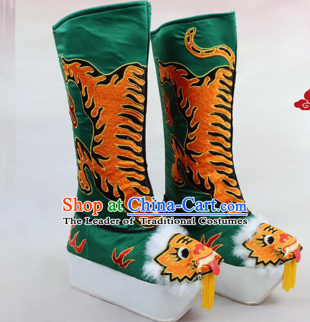 Traditional Beijing Opera Emperor Embroidered Green Boots Tiger-head Shoes, Ancient Chinese Peking Opera Takefu Satin Embroidery High Leg Boots