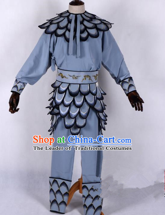 Traditional China Beijing Opera Takefu Costume, Ancient Chinese Peking Opera Wu-Sheng Warrior Grey Clothing