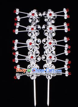 Traditional Beijing Opera Diva Hair Accessories Red Crystal Plum Blossom Head Ornaments Hairpins, Ancient Chinese Peking Opera Hua Tan Hair Stick Headwear