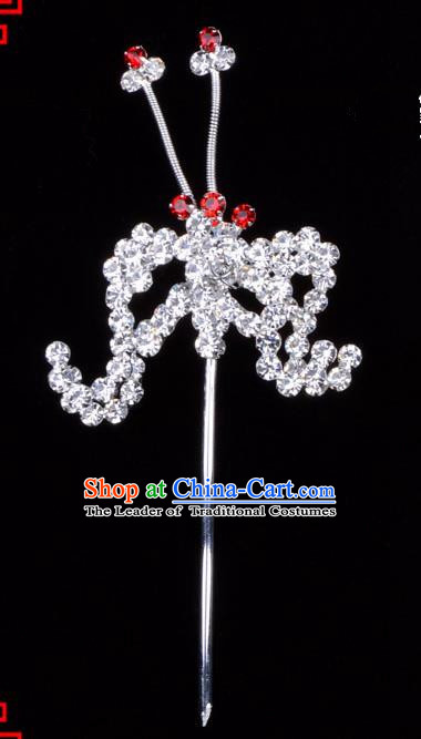 Traditional Beijing Opera Diva Hair Accessories Crystal Bat Hairpins, Ancient Chinese Peking Opera Hua Tan Hair Stick Headwear