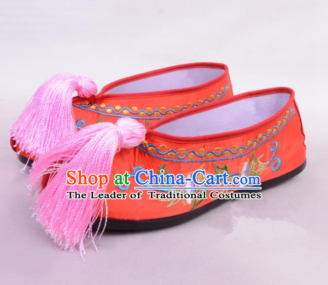 Traditional Beijing Opera Hua Tan Rosy Embroidered Shoes Princess Shoes, Ancient Chinese Peking Opera Diva Blood Stained Shoes