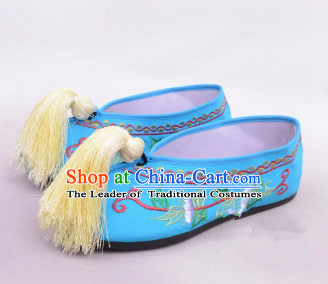 Traditional Beijing Opera Hua Tan Blue Embroidered Shoes Princess Shoes, Ancient Chinese Peking Opera Diva Blood Stained Shoes