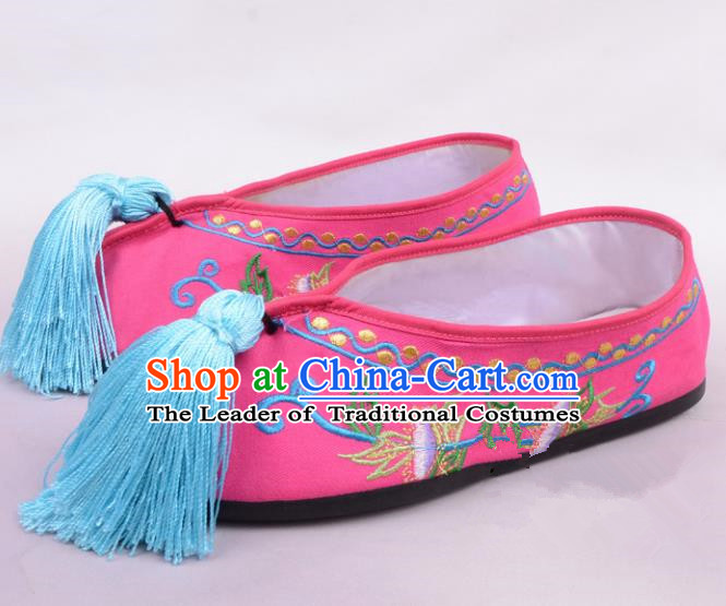 Traditional Beijing Opera Hua Tan Embroidered Shoes Princess Rosy Shoes, Ancient Chinese Peking Opera Diva Blood Stained Shoes