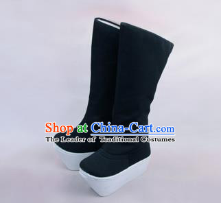 Traditional Beijing Opera Officer Boots Shoes, Ancient Chinese Peking Opera Takefu Flange High Leg Boots