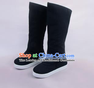 Traditional Beijing Opera Officer Black Boots Cloth Shoes, Ancient Chinese Peking Opera Takefu High Leg Boots