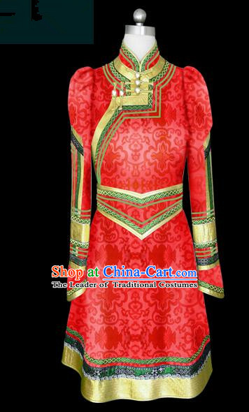 Traditional Chinese Mongol Nationality Wedding Costume Female Red Mongolian Robe, Chinese Mongolian Minority Nationality Princess Embroidery Costume for Women