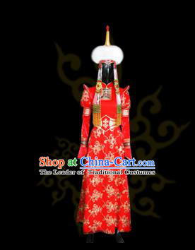 Traditional Chinese Mongol Nationality Costume Female Red Wedding Mongolian Robe, Chinese Mongolian Minority Nationality Princess Embroidery Costume for Women