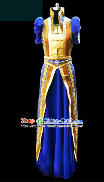 Traditional Chinese Mongol Nationality Dance Costume Female Royalblue Mongolian Robe, Chinese Mongolian Minority Nationality Princess Embroidery Costume for Women