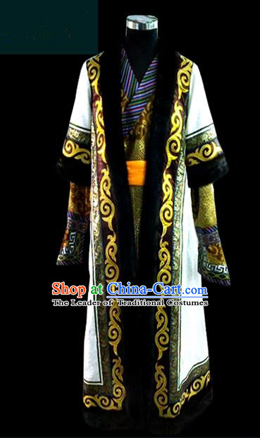 Traditional Chinese Mongol Nationality Dance Costume Mongolian Robe Complete Set, Chinese Mongolian Minority Nationality Royal Highness Embroidery Costume for Men