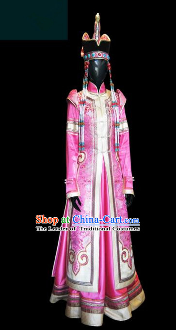 Traditional Chinese Mongol Nationality Wedding Costume Female Pink Pleated Skirt, Chinese Mongolian Minority Nationality Princess Embroidery Costume for Women