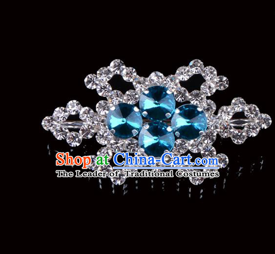 Traditional Beijing Opera Diva Jewelry Accessories Blue Crystal Brooch, Ancient Chinese Peking Opera Hua Tan Breastpin