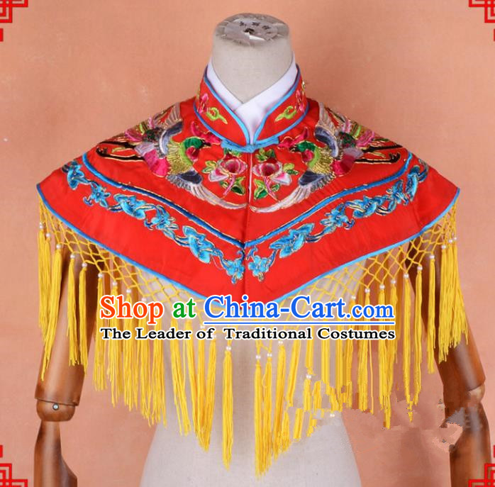Top Grade Professional Beijing Opera Palace Lady Costume Hua Tan Red Embroidered Cloud Shoulder, Traditional Ancient Chinese Peking Opera Diva Wedding Embroidery Clothing