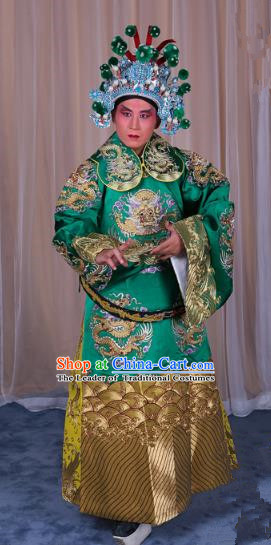 Top Grade Professional Beijing Opera Emperor Costume Green Embroidered Robe Gwanbok, Traditional Ancient Chinese Peking Opera Royal Highness Embroidery Dragons Clothing