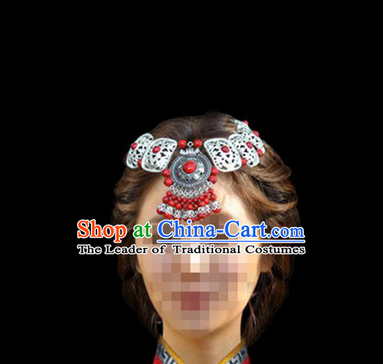 Traditional Chinese Mongol Nationality Hair Accessories, Mongols Female Folk Dance Ethnic Headband, Chinese Mongolian Minority Nationality Headwear for Women