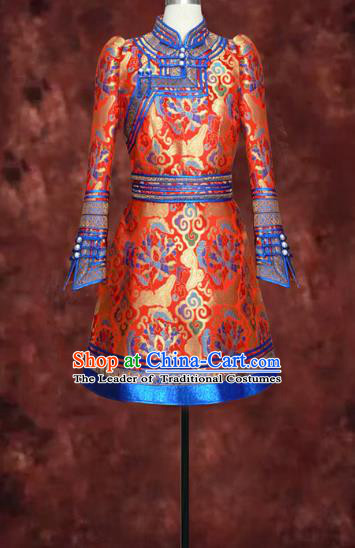 Traditional Chinese Mongol Nationality Dance Costume, Mongols Female Folk Dance Ethnic Wedding Robe, Chinese Mongolian Minority Nationality Embroidery Costume for Women