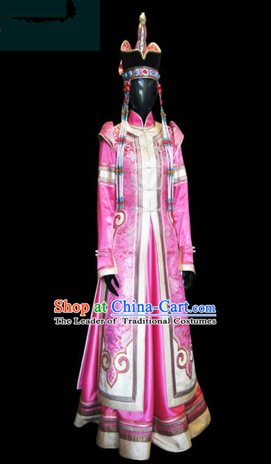 Traditional Chinese Mongol Nationality Dance Costume Female Pink Mongolian Robe and Hat, Chinese Mongolian Minority Nationality Embroidery Clothing for Women