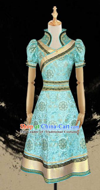 Traditional Chinese Mongol Nationality Folk Dance Costume Green Mongolian Robe, Chinese Mongolian Minority Nationality Princess Embroidery Costume for Women