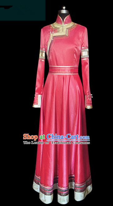 Traditional Chinese Mongol Nationality Dance Costume Princess Red Mongolian Robe, Chinese Mongolian Minority Nationality Embroidery Clothing for Women