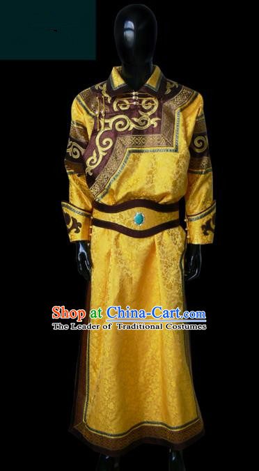 Traditional Chinese Mongol Nationality Dance Costume Golden Mongolian Robe, Chinese Mongolian Minority Nationality Royal Highness Clothing for Men