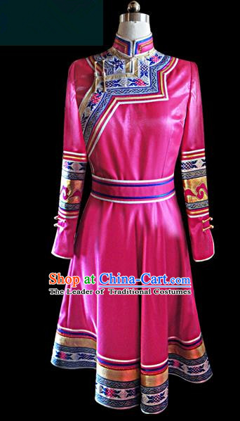 Traditional Chinese Mongol Nationality Dance Costume Female Dress, Chinese Mongolian Minority Nationality Princess Pink Mongolian Robe Embroidery Clothing for Women