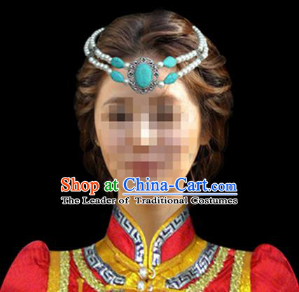 Traditional Chinese Mongol Nationality Hair Accessories Mongols Princess Blue Turquoise Headband, Chinese Mongolian Minority Nationality Headwear for Women