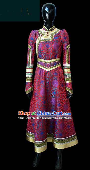 Traditional Chinese Mongol Nationality Dance Costume Female Purple Mongolian Robe, Chinese Mongolian Minority Nationality Princess Embroidery Costume for Women