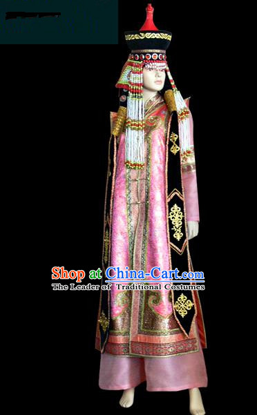 Traditional Chinese Mongol Nationality Dance Costume Female Pink Mongolian Robe, Chinese Mongolian Minority Nationality Princess Embroidery Costume for Women