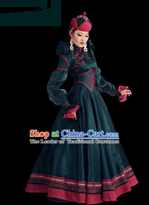 Traditional Chinese Mongol Nationality Dance Costume Palace Lady Green Mongolian Robe, Chinese Mongolian Minority Nationality Princess Embroidery Wedding Costume for Women