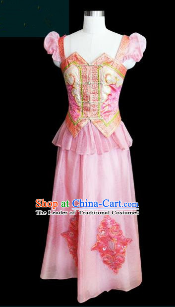 Traditional Chinese Mongol Nationality Dance Costume Palace Lady Pink Mongolian Robe, Chinese Mongolian Minority Nationality Princess Embroidery Wedding Costume for Women
