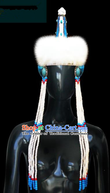 Traditional Chinese Mongol Nationality Hair Accessories Princess Beads Tassel Wool Blue Hat, Chinese Mongolian Minority Nationality Headwear for Women