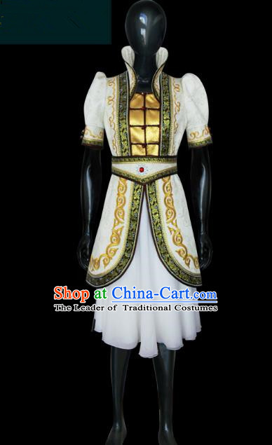 Traditional Chinese Mongol Nationality Dance Costume Young Lady White Mongolian Robe, Chinese Mongolian Minority Nationality Princess Embroidery Costume for Women