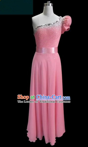 Traditional Chinese Modern Dancing Compere Performance Costume, Opening Classic Chorus Singing Group Dance Pink Dress for Women