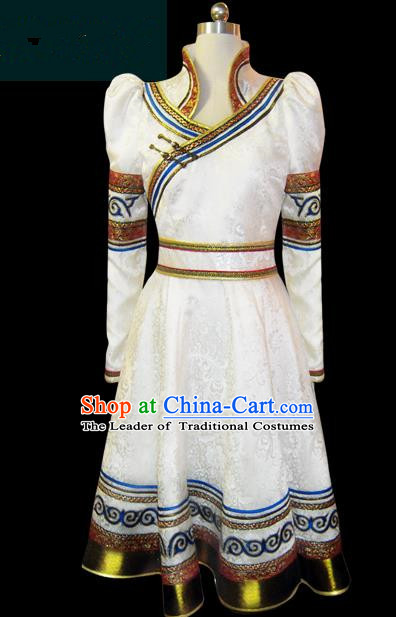 Traditional Chinese Mongol Nationality Dance Costume Female White Pleated Skirt, Chinese Mongolian Minority Nationality Princess Embroidery Clothing for Women