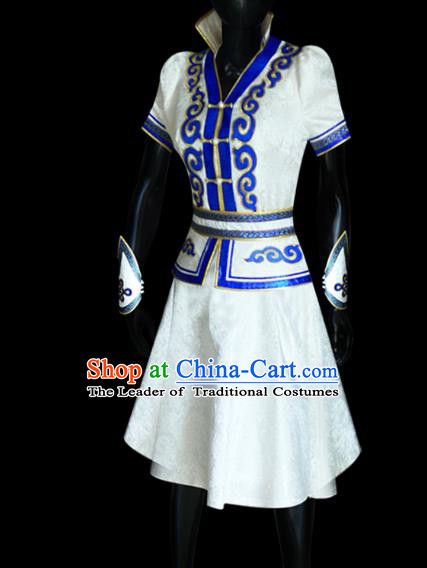 Traditional Chinese Mongol Nationality Dance Costume Mongolian Robe, Chinese Mongolian Minority Nationality Young Lady Embroidery Dress for Women