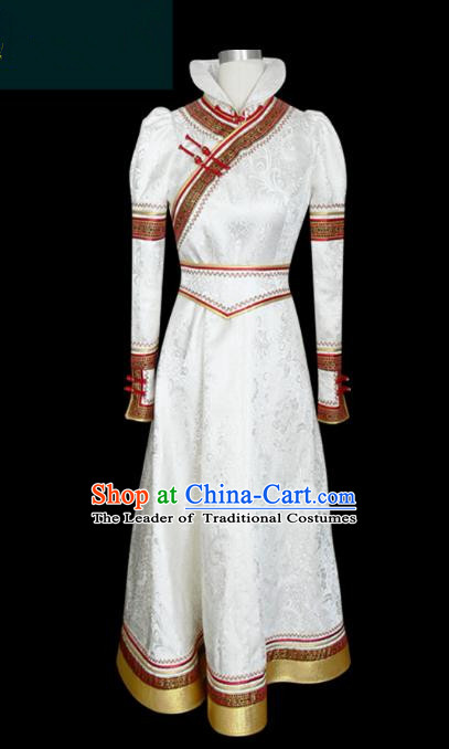 Traditional Chinese Mongol Nationality Dance Costume White Mongolian Robe, Chinese Mongolian Minority Nationality Young Lady Embroidery Dress for Women