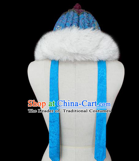 Traditional Chinese Mongol Nationality Royal Highness Blue Hat, Chinese Mongolian Minority Nationality Headwear for Men