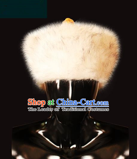 Traditional Chinese Mongol Nationality Royal Highness Wool Hat, Chinese Mongolian Minority Nationality Headwear for Men