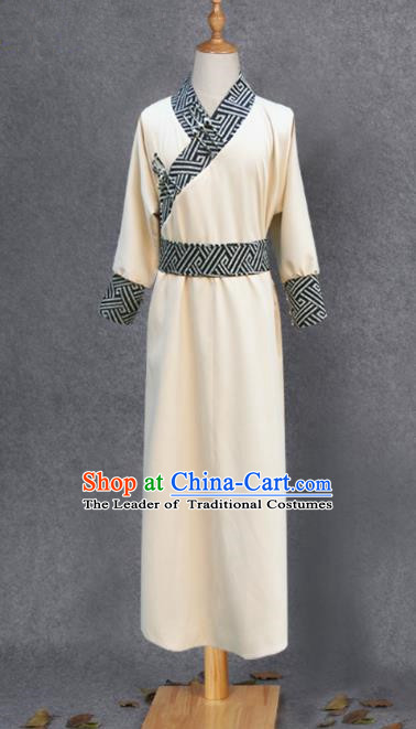 Traditional Chinese Mongol Nationality Costume Young Men White Mongolian Robe, Chinese Mongolian Minority Nationality Clothing for Men
